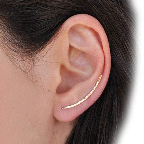 WDam Pendientes de Plata 925 Grillz Piercing Joyas Ear Cuff Charm Pendientes Brincos Rellenos de Oro Martillado Hechos a Mano para mujeres-14k Gold Filled 25MM