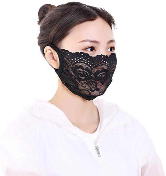 ldgr Adults Face Delicate Lace Applique Face Bandana Mouth Face Protection for Women 2Pcs Lady Fashion Outdoor Washable Reusable Breathable Dustproof Face Fabric