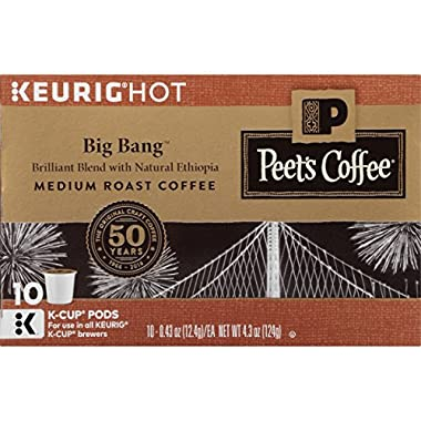Peet's Coffee, Big Bang, Medium Roast, K-Cup Pack (60 ct.), Single Cup Coffee Pods, Brilliant, Bright Blend of Ethiopian Super Natural, Medium Bodied & Fruity; for All Keurig K-Cup Brewers