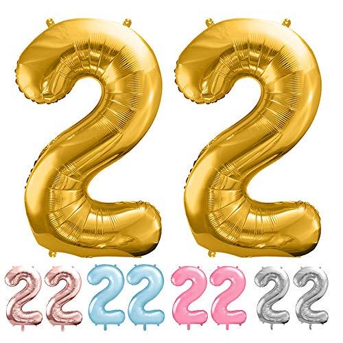balloonfantasy Partyboutique Balloon Fantasy Zahlen Luftballon Set XXL / Luftballons Geburtstag / Ballon Zahlen (Gold, 22)