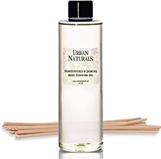Urban Naturals Honeysuckle & Jasmine Reed Diffuser Oil Refill | Beautiful Floral Fragrance | Hyacinth, Neroli, Iris, Rose & Lily of The Valley | Includes Free Set of Reed Sticks! Made in The USA