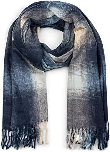 styleBREAKER Unisex Schal mit Karo Muster und Fransen, Winter, Stola, Tuch 01017098, Farbe:Dunkelblau-Blau-Beige