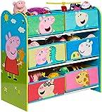 Unidad de almacenamiento de juguetes para niños Peppa Pig, dimensiones construidas (aproximadas): 60 cm de alto x 63,5 cm de ancho x 30 cm de profundidad.