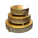 MOVKZACV Soporte redondo de metal para tartas, juego de 3 piezas, soporte para...