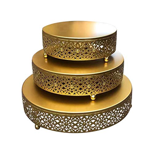 Dehongwang Juego de 3 soportes redondos de metal para tartas de postre, expositores para magdalenas, bodas, fiestas o postres