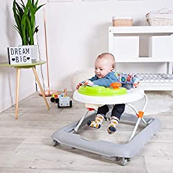 Funky electronic baby walker with detachable musical play tray 3 height adjustable frame Extra deep padded seat for full back support Play tray can be removed for independent use Features stop and go safety base for peace of mind when in use