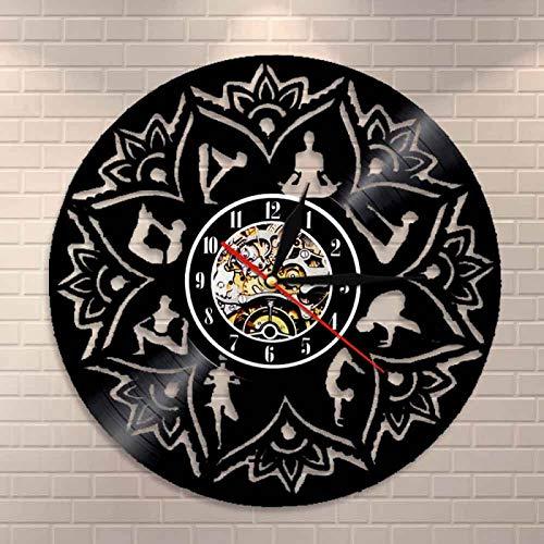 LIMN Semilla de la Vida Lotus Wall Art Adorno Zen Meditación Reloj de Pared Relajación Yoga Focus Decoración de la Pared Mandala Disco de Vinilo Reloj de Pared