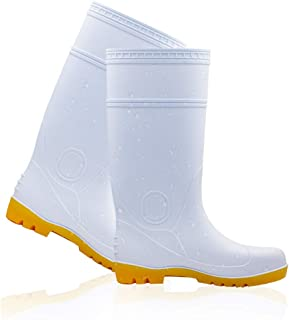 Men's And Women's Safety Toe Rubber Work Boots, Men's And Women's Light Rain Boots, Composite Toe Waterproof Work Boots, Oil-Resistant Agricultural Boots (White)