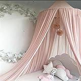 Ommda Moskitonetz Bett Kinder und Baby Betthimmel Moskitonetz Chiffon süß und romantisch für Kinderzimmer und Schlafzimmer mit Haarball Dekoration Rosa 240x50cm (HöhexDurchmesser)