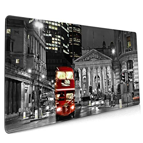Road Blur Night Bus Engeland Londen zwart en wit muismat niet slip rubber grote Gaming Keyboard Mat 15.8x35.5 In