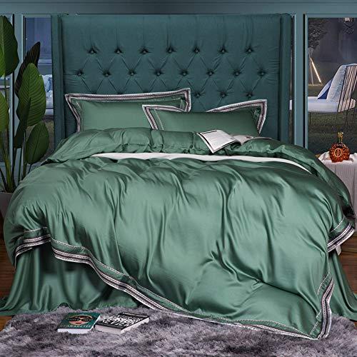 Funda Nórdica,La Ropa De Cama De Seda De Color Sólido Simple Conjunto Four-Piece Tencel Verde Esmeralda Textil Hogar Confortable Colcha Edredón Nórdico Y Funda De Almohada,2.0M