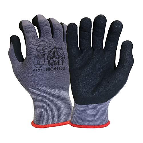 WOLF 13-gauge Ultra-Thin Nitrile Foam Coated Palm Grip Glove Multi-Purpose (12, Large)