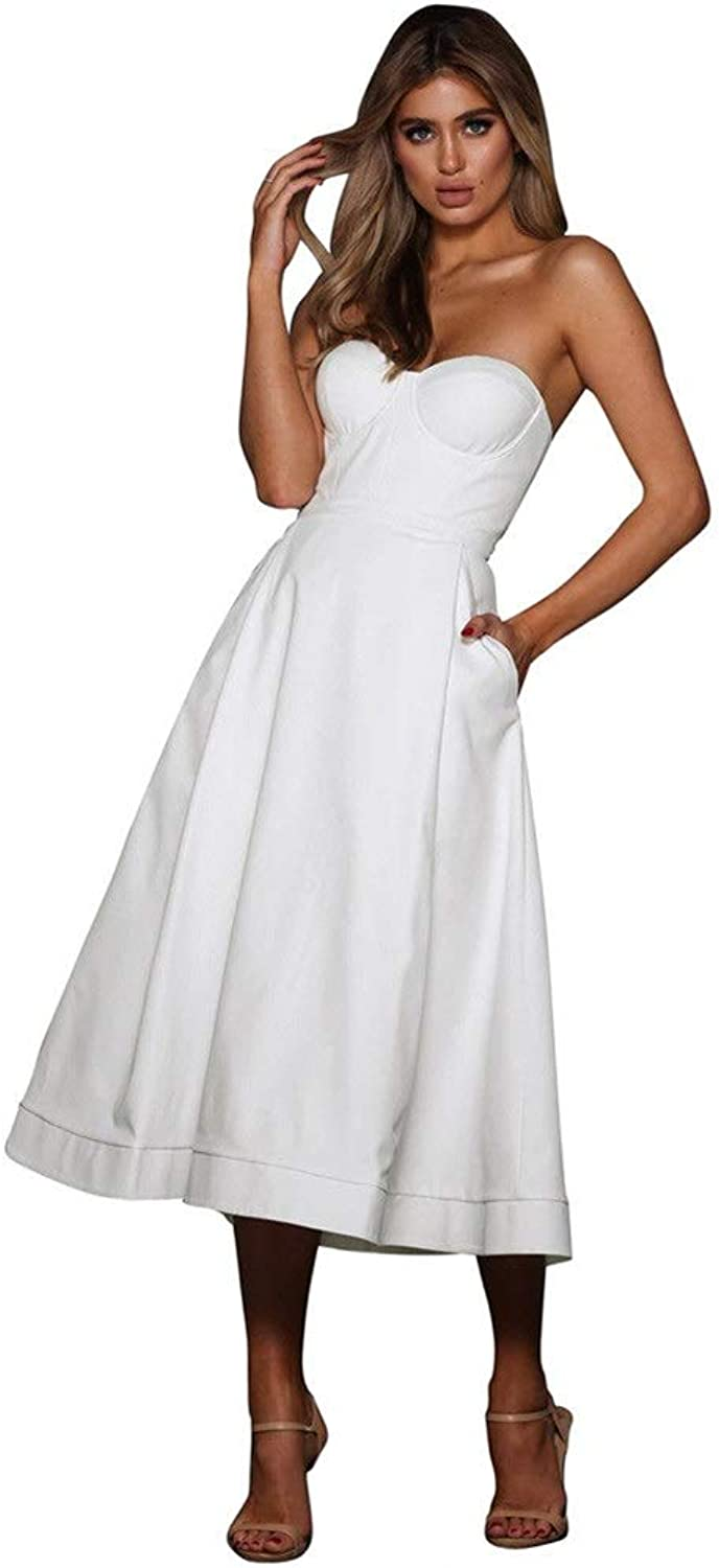 Bridesmaid Dress Womens Strapless Sweetheart Evening Prom Dress Solid color Pockets Cocktail Formal Swing Dress Empire Waist Party Aline Dress Bridesmaid Dresses Cocktail Party Dress
