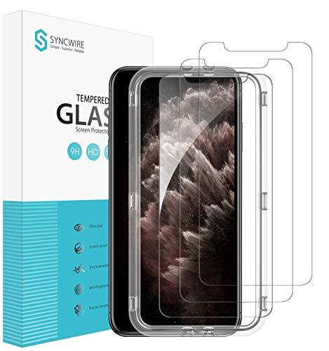 Syncwire [3 Stück] Schutzfolie für iPhone 11 Pro Max/ XS Max, Panzerglas [6.5 Zoll] mit Positionierhilfe, müheloszu installationieren, 9H-Festigkeit, 2.5D Kante, Anti-Kratzen, Anti-Bläschen
