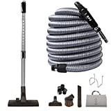 Ovo KIT-LV35S-OVO Central Vacuum Hardwood Brush Cleaning Tools Attachment Ki Tile Floors and Hard Surfaces-Switch Control Crushproof Hose, 35ft, Black and Grey