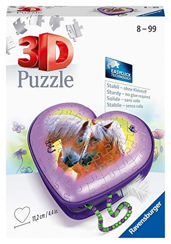 Ravensburger 3D Puzzle 11171 - Herzschatulle Pferde - 54 Teile - Aufbewahrungsbox für Pferde-Fans ab 8 Jahren