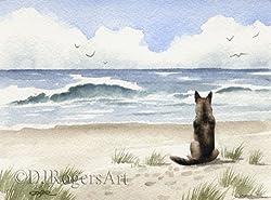 German Shepherd Watercolor Art Painting