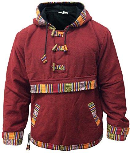 Shopoholic Moda Completamente fodera in pile Woffle Maglione,Super caldo Hippie Felpa con cappuccio, Grigio chiaro, Medium