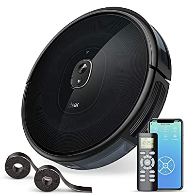 1600Pa Robotic Vacuums, dser Robot Vacuum Cleaner, Wi-Fi Connected, 2 Boundary Strips, Cleans for Carpets and Pet Hair, Compatible with Alexa and Google Home (RoboGeek 21T)