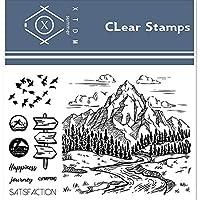 11 * 16CM MountainsRivers透明クリアスタンプ/DIYスクラップブッキングフォトアルバム/カード作成用シリコンシールローラースタンプ