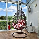 Kideo® Fauteuil suspendu avec armature + coussin, meubles lounge en résine tressée, balancelle en rotin (marron/rouge/blanc)