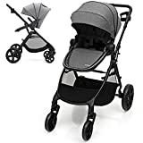BABY JOY Baby Stroller, 2 in 1 Aluminum Carriage w/Reversible Seat, Cup Holder, 5-Point Harness, Adjustable Handle/Canopy/Backrest, Large Storage Basket, One-Step Folding Stroller for Infant (Gray)