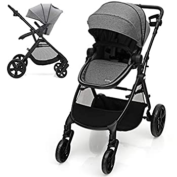 BABY JOY Baby Stroller 2 in 1 Aluminum Carriage w/Reversible Seat Cup Holder 5-Point Harness Adjustable Handle/Canopy/Backrest Large Storage Basket One-Step Folding Stroller for Infant  Gray