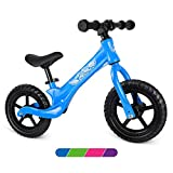 Beleev Balance Bike Aluminum Alloy, No Pedal Toddler Bike Adjustable Seat, Lightweight Sports Training Bicycle for Kids Age 2 to 6 Years Old(Blue)
