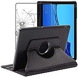 ebestStar - kompatibel mit Huawei MediaPad T5 10 Hülle Tablet 10.1 Rotierend Schutzhülle Etui Ständer, Rotating Case Cover, Schwarz + Panzerglas Schutzfolie [T5 10.1: 243 x 164 x 7.8mm, 10.1'']