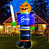 TURNMEON 8Ft High Lighted Inflatables Pumpkin Ghost Figures Halloween Blow Up Pumpkin with Stakes Tethers LED Lights Yard Decorations Outdoor Indoor Home Lawn Garden Party Decor