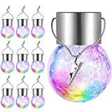 10-Pack Hanging Solar Lights Outdoor, Solar Powered Cracked Glass Ball Light, Decorative Globe Light Outdoor Waterproof with Handle for Garden, Yard, Patio, Tree, Holiday Decoration, Multicolor