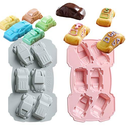 4 STÜCK 3D Auto geformt-Backform Silikonform für handgemachte Seife Schokoladendesserts, Eis, Fondant, Süßigkeiten, Zuckerguss, Tablett, Süßigkeiten, Keks, Gummi, Mousse Wackelpudding-Silikomart