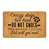 DoubleJun Funny Doormat Crazy Dogs Live Here Do Not Knock They Will Bark Entrance Mat Floor Rug Indoor/Outdoor/Front Door Mats Home Decor Machine Washable Rubber Non Slip Backing 29.5'(W) X 17.7'(L)