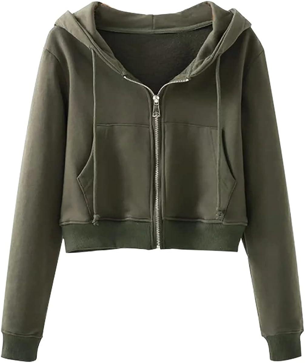 Ladies Casual Sports Long-Sleeved Short Top With Zipper Hoodie