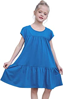 Play Tailor Cotton Dresses for Girls Tiered Casual Swing Summer Dress with Pocket