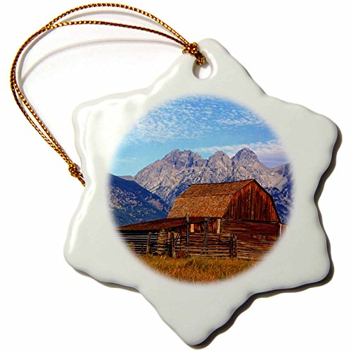 3dRose Wyoming, Grand Teton NP, Barn, Teton Mountains - US51 FZU0000 - Frank Zurey - Snowflake Ornament, Porcelain, 3-inch (orn_97300_1)