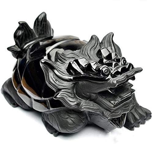 LULUDP-Decoración La decoración del hogar artesanía china Chinese ornaments Obsidiana dragón tortuga estatua, símbolo principal de la decoración de la longevidad mejor estreno de una casa de felicitac