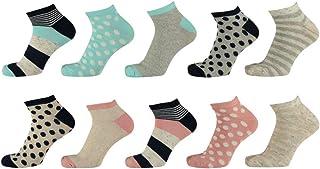 Pack de 10 calcetines para mujer, multicolor, estampados y colores lisos, 36-41, alto porcentaje de algodón, sin costuras apretadas