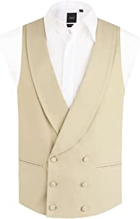Mens Gold/Buff Morning Suit Wedding Vest Regular Fit Shawl Lapel Double Breasted