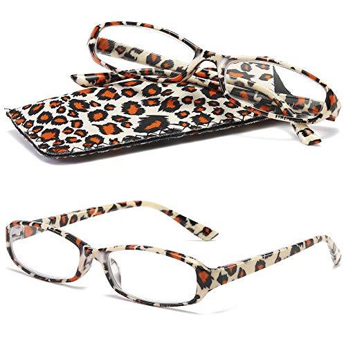 VEVESMUNDO leesbril dames heren modern veerscharnier bloemen leeshulp bril licht vintage met brillenkoker 1,0 1,25 1,5 1,75 2,0 2,25 2,5 2,75 3,0 3,5 4,0