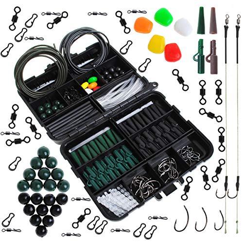 Dr.Fish Juego de 280 aparejos de pesca de carpa, en caja, 2 aparejos de pelo, ganchos de seguridad, ganchos giratorios para tubos de maíz, color verde y negro
