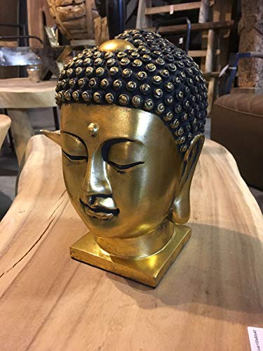 DT Thai Buddha Kopf Gold 24 cm goldfarben Antik Designe Skulptur Deko Feng Shui New