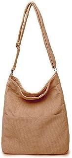 Ulisty Damen Cord Grosse Kapazität Schultertasche Lässige Handtasche Mode Einkaufstasche Umhängetasche braun
