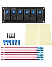 Panel de interruptores LED de 6 cuadrillas, 12-24V Panel de interruptores basculantes de 6 bandas para auto yate, barco, yate, infante de marina