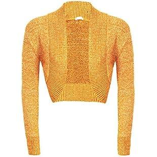 Womens Girls Long Sleeve Knitted Metallic Lurex Shrug Ladies Evening party Bolero Cardigan-£5.99, Sizes 8-14 (S/M(8-12), Mustard)