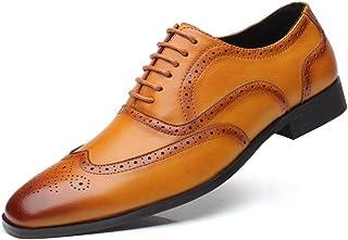 Scarpe Brogue Uomo Scarpe Derby in Pelle con Lacci Vintage Scarpe da Lavoro Formali da Ufficio con Punta a Punta Oxford