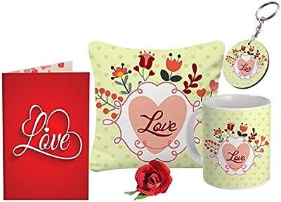 SKYTRENDS Valentine Cushion Cover, Coffee Mug, Rose, Keychain & Greeting Card for Valentine's Gift - Combo of 5, Multicolor, St-valnmuggrtngkeyrosgocushstg201