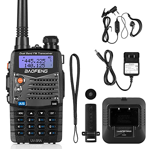 BaoFeng UV-5R Ham Radio Walkie Talkie, Dual Band Two Way Radio with 2100mAh Li-ion Battery Portable Walkie Talkies with Includes Full Kit