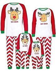 K-youth Conjunto de Pijamas Ropa Familiar Navidad Fiesta Elk Camisetas Hombre Mujer Niño Niña Blusa Tops y Pantalones Ropa Padre Hijo Madre Ropa de Dormir de Navidad para Familia