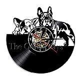 Lovely French Bulldog 3D Reloj de Pared Decoración de diseño Moderno Maison Vinyl Record Clock Decoración de Pared para niños Habitación de niños